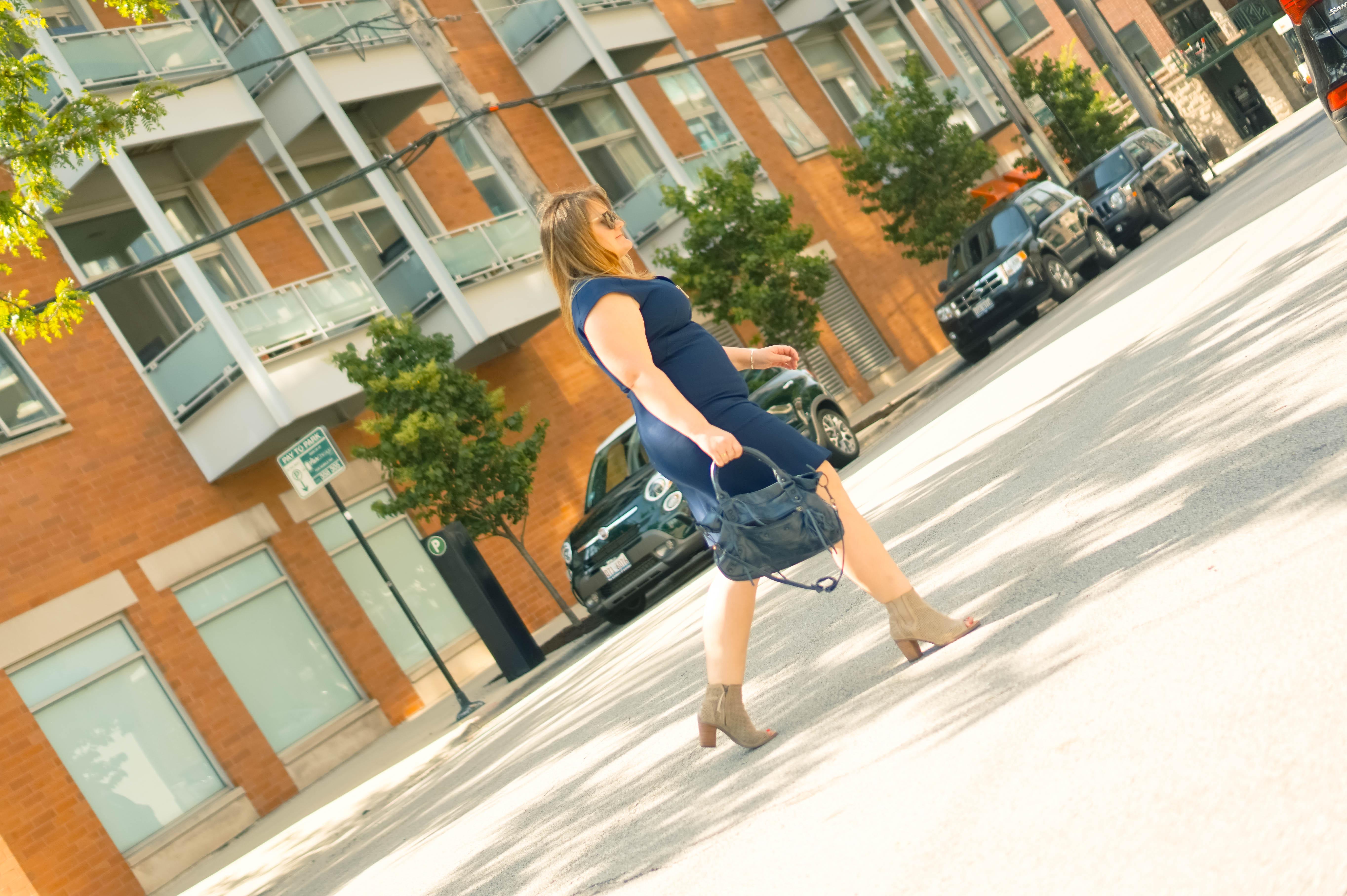 Ted Baker dress-crossing street