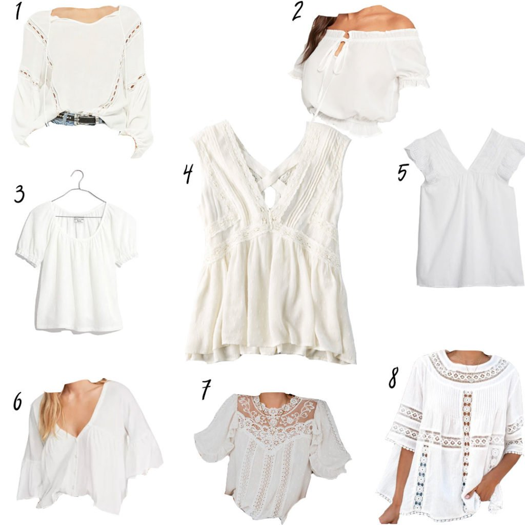 ba7910e6f0d7d5 Madewell – Texture & Thread Peasant Top | 4. American Eagle – Lace Shell  Tank Top | 5. Gap – Eyelet Embroidered Flutter Sleeve Top ...