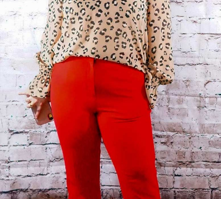 Red Pants and Animal Print top