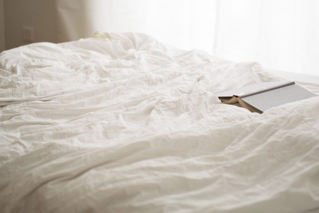 Bedding on a bed